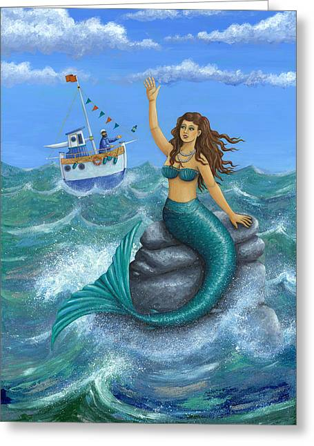 Day Summer Greeting Cards - Mermaid Greeting Card by Peter Adderley