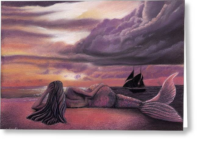 Ship Pastels Greeting Cards - Mermaid Rendezvous Greeting Card by Michaeline McDonald