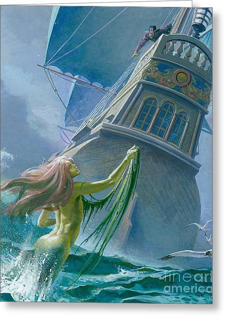 Wooden Ship Paintings Greeting Cards - Mermaid seen by one of Henry Hudsons crew Greeting Card by Severino Baraldi
