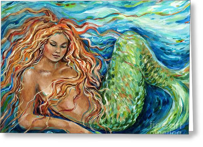 Sleeping Mermaid Greeting Cards - Mermaid sleep new Greeting Card by Linda Olsen