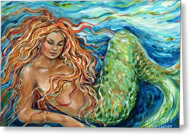 Sleeping Mermaid Greeting Cards - Mermaid sleep new Greeting Card by Linda Olsen