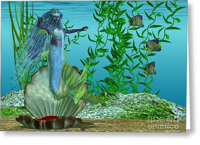 Fantasy Creatures Greeting Cards - Mermaid Theadora Greeting Card by Corey Ford