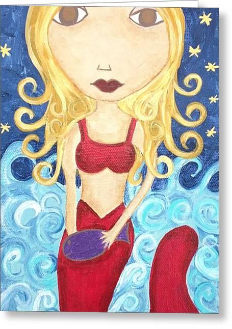 Angel Mermaids Ocean Paintings Greeting Cards - Mermaid under The Moon Greeting Card by Kerri Ambrosino GALLERY