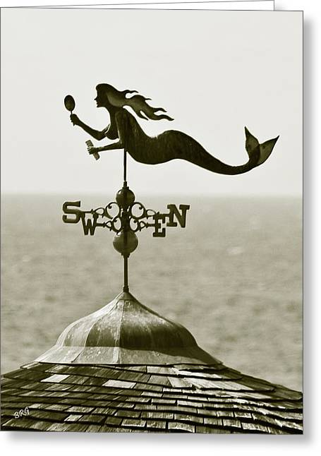 Wind Vane Greeting Cards - Mermaid Weathervane In Sepia Greeting Card by Ben and Raisa Gertsberg