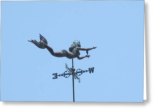 Weathervane Greeting Cards - Mermaid Weathervane Greeting Card by Wendy Durbin