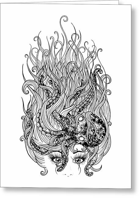 Floating Girl Greeting Cards - Mermaid with Octopus black and white Greeting Card by Rachel Weaver