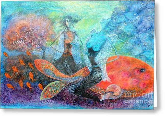 Angel Mermaids Ocean Greeting Cards - Mermaid World Greeting Card by Vandana Devendra