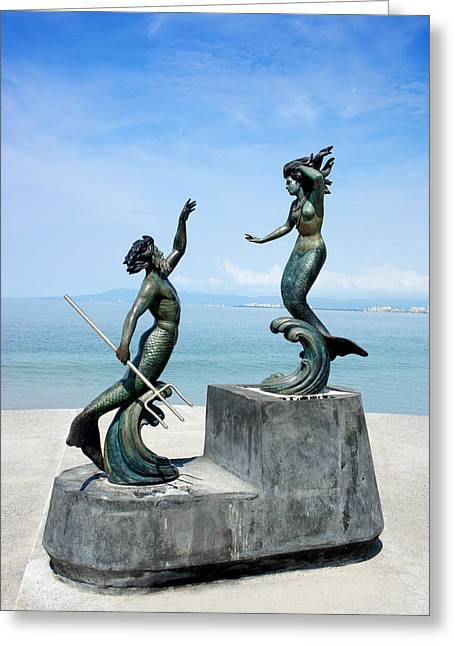 Neptune Greeting Cards - Mermaids Greeting Card by Aged Pixel