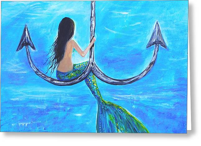 Mermaid Poster Greeting Cards - Mermaids Anchor Hangout Greeting Card by Leslie Allen
