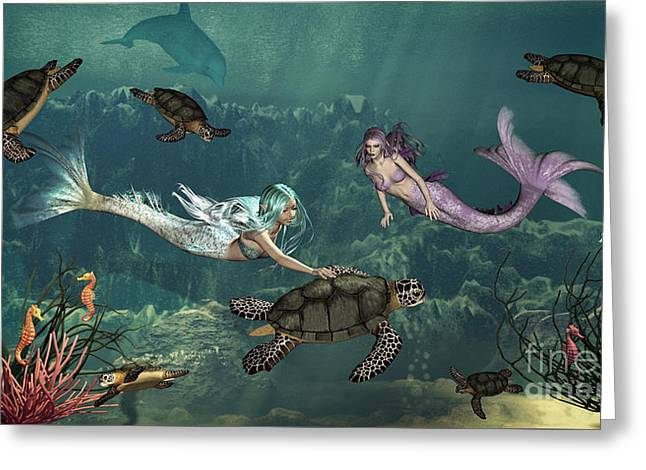 Under The Sea Mermaid Greeting Cards - Mermaids At Turtle Springs Greeting Card by Methune Hively
