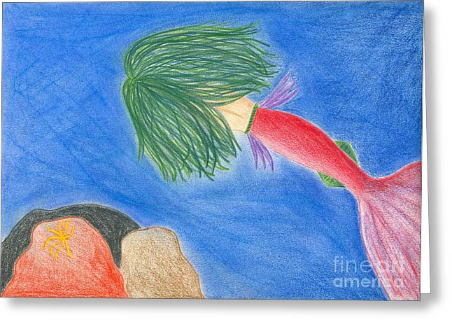 Caves Pastels Greeting Cards - Mermaids Cave Greeting Card by Emily Alexander