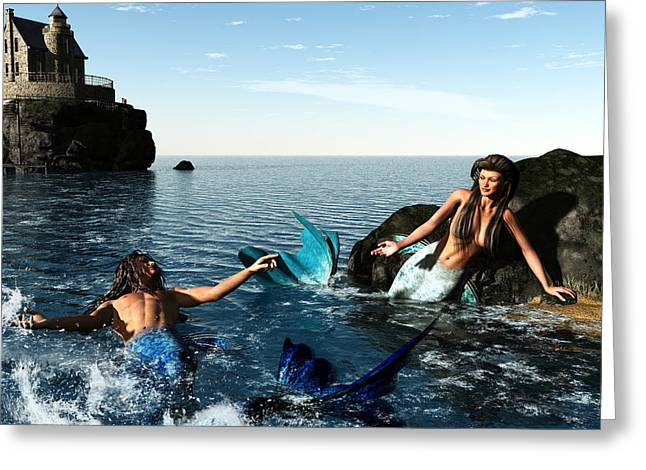 Mermaid Lovers Greeting Cards - Mermaids Courting Greeting Card by Joseph Soiza