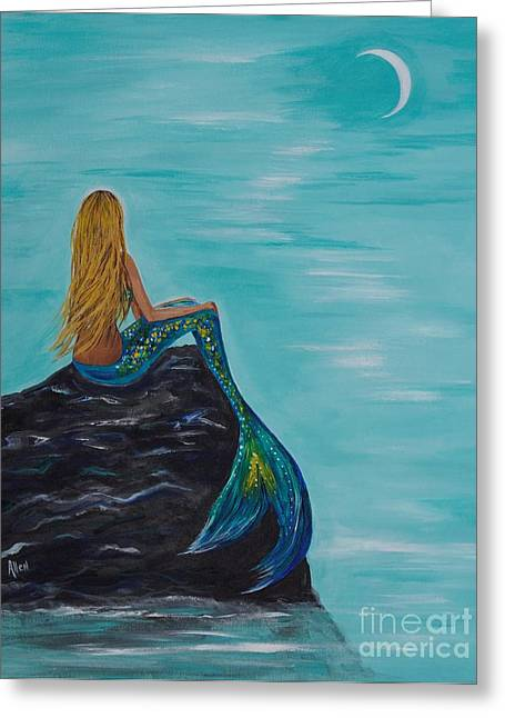 Mermaid Poster Greeting Cards - Mermaids Crescent Moon Greeting Card by Leslie Allen