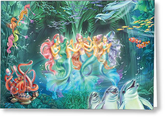 Mermaids Danicing Greeting Card by Zorina Baldescu