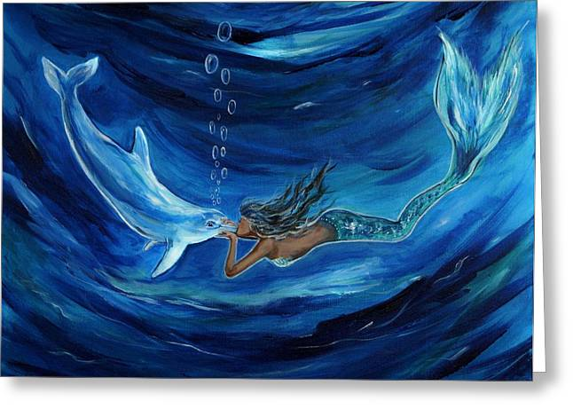 Under The Sea Mermaid Greeting Cards - Mermaids Dolphin Buddy Greeting Card by Leslie Allen