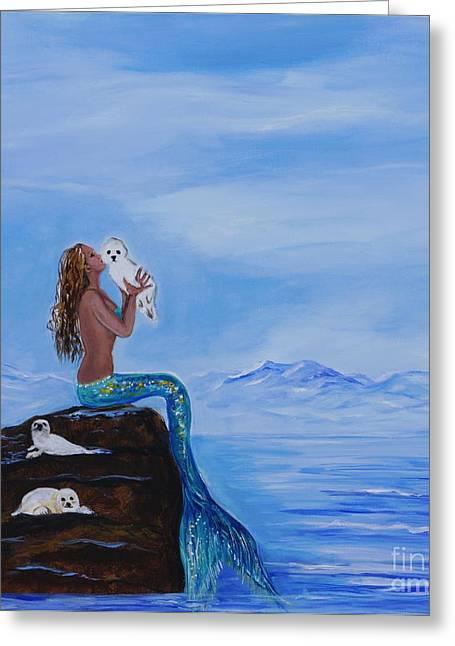 Picture Of Mermaids Greeting Cards - Mermaids Little Cuties Greeting Card by Leslie Allen