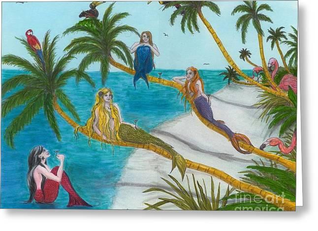 Recently Sold -  - Lounge Paintings Greeting Cards - Mermaids Martini Palm Trees Birds Cathy Peek Art Greeting Card by Cathy Peek
