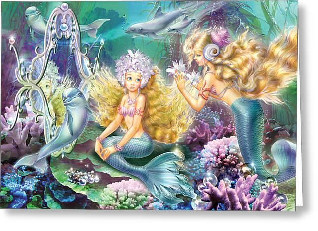 Mermaids Mirror Greeting Card by Zorina Baldescu