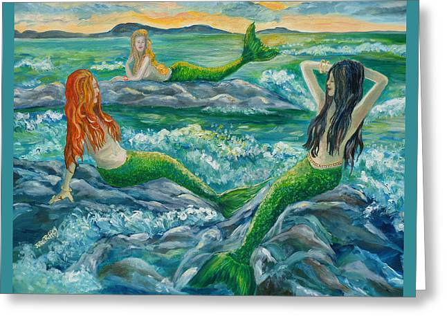 Lounge Paintings Greeting Cards - Mermaids on the Rocks Greeting Card by Julie Brugh Riffey