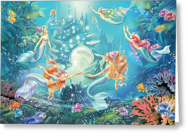 Mermaids Place Greeting Card by Zorina Baldescu