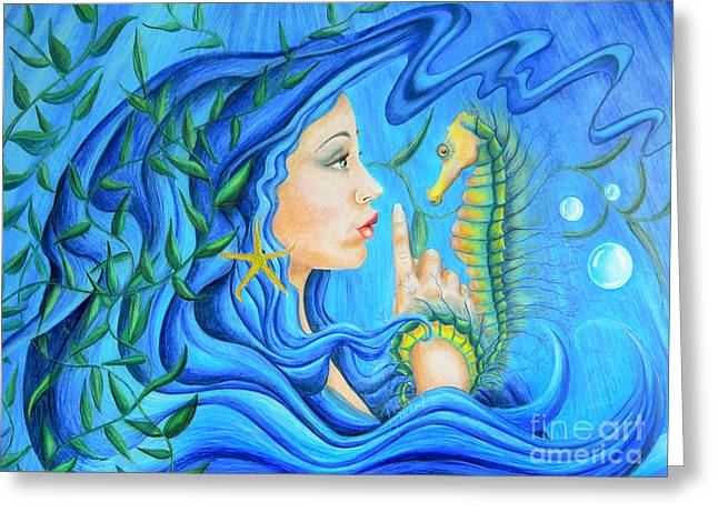Coloured Greeting Cards - Mermaids Secret Greeting Card by Lissa Rachelle