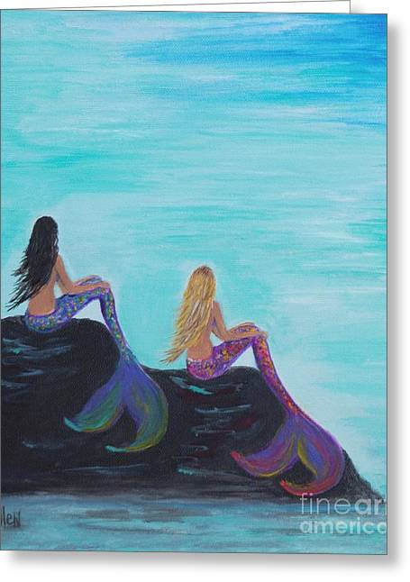 Picture Of Mermaids Greeting Cards - Mermaids Sitting Pretty Greeting Card by Leslie Allen