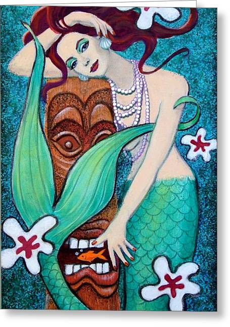 Pop Surrealism Paintings Greeting Cards - Mermaids Tiki God Greeting Card by Sue Halstenberg