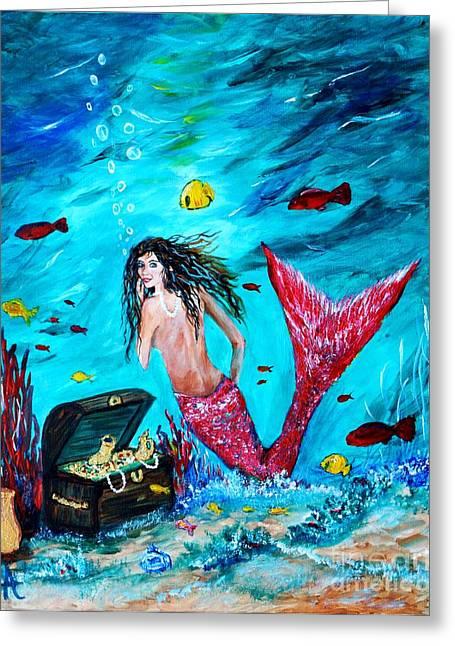 Mermaids Treasure Greeting Card by Leslie Allen