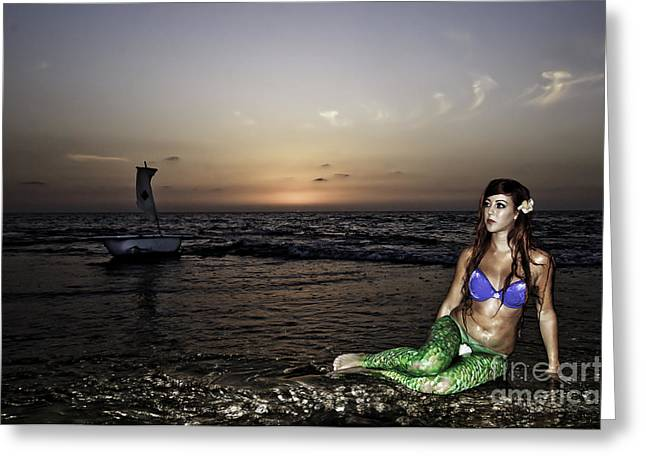 Ethereal Beach Scene Greeting Cards - Mermaid Sighting  Greeting Card by Guy Viner