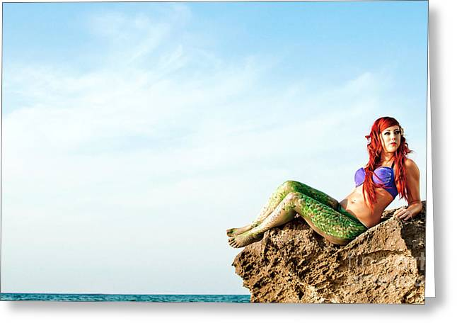 Ethereal Beach Scene Greeting Cards - Mermaid Sighting 1 Greeting Card by Guy Viner