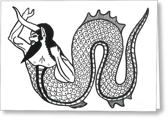 Marine Creatures Greeting Cards - Merman, Legendary Creature Greeting Card by Photo Researchers