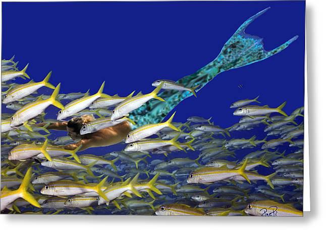 Angel Mermaids Ocean Greeting Cards - Merman Greeting Card by Paula Porterfield-Izzo