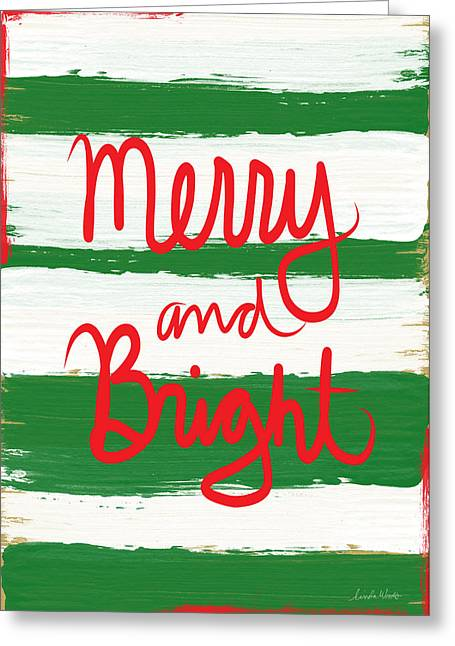 Calligraphy Art Greeting Cards - Merry and Bright- Greeting Card Greeting Card by Linda Woods