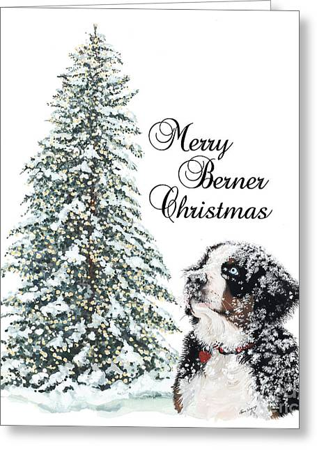 Berner Greeting Cards - Merry Berner Christmas Greeting Card by Liane Weyers