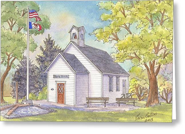 Merry Brook School House Woodbine Iowa Greeting Card by Leisa Collins