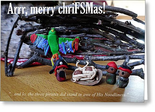 Spaghetti Greeting Cards - Merry Chrifsmas Greeting Card by Richard Reeve