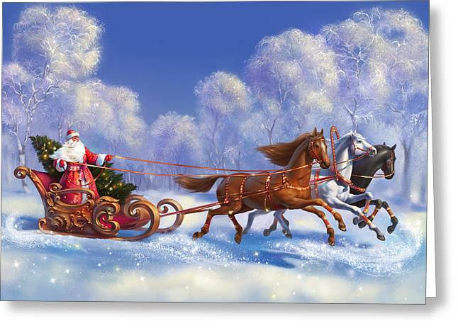 Sledge Greeting Cards - Merry Christmas and New Year greetings Greeting Card by Eldar Zakirov