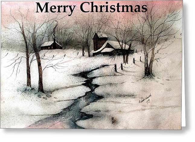 Skiing Art Cards Greeting Cards - Merry Christmas  Greeting Card by Anna Sandhu Ray