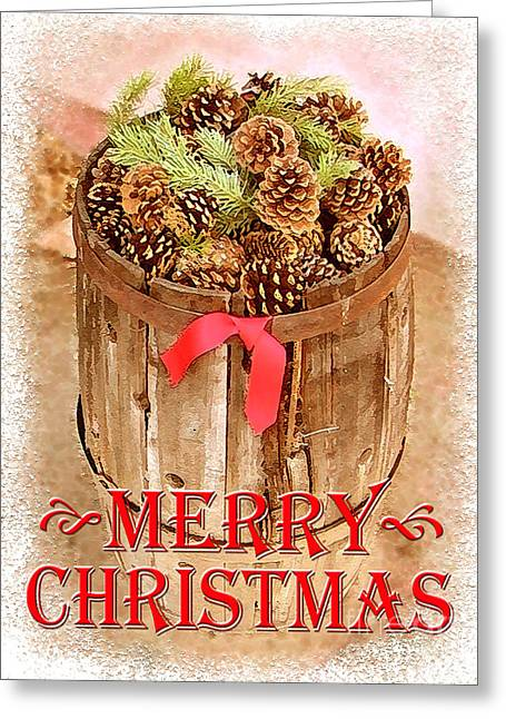 Pine Cones Digital Greeting Cards - Merry Christmas Barrel Greeting Card by Cristophers Dream Artistry