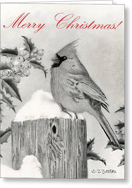 Berry Drawings Greeting Cards - Merry Christmas- Cardinal And Holly Greeting Card by Sarah Batalka
