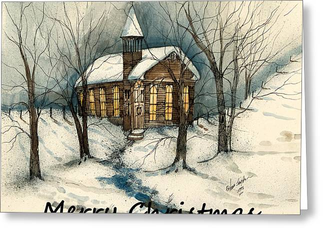 Tennessee Barn Greeting Cards - Merry Christmas Country Church  Greeting Card by Anna Sandhu Ray