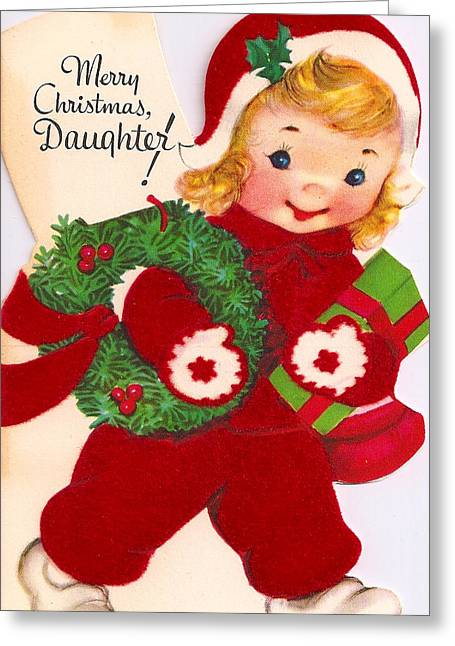 Daughter Gift Greeting Cards - Merry Christmas Daughter Greeting Card by Munir Alawi