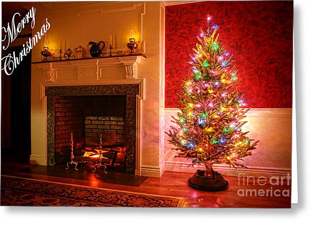 Xmas Tree Greeting Cards - Merry Christmas Fireplace Greeting Card by Olivier Le Queinec