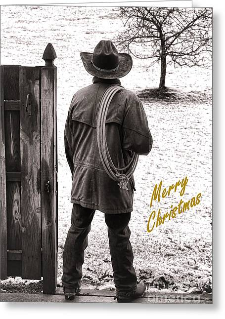 Wishes Greeting Cards - Merry Christmas from Cowboy Country Greeting Card by Olivier Le Queinec