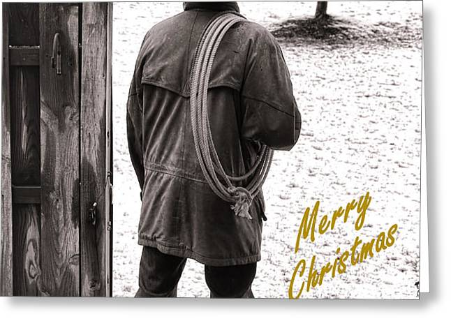 Merry Christmas from Cowboy Country Greeting Card by Olivier Le Queinec