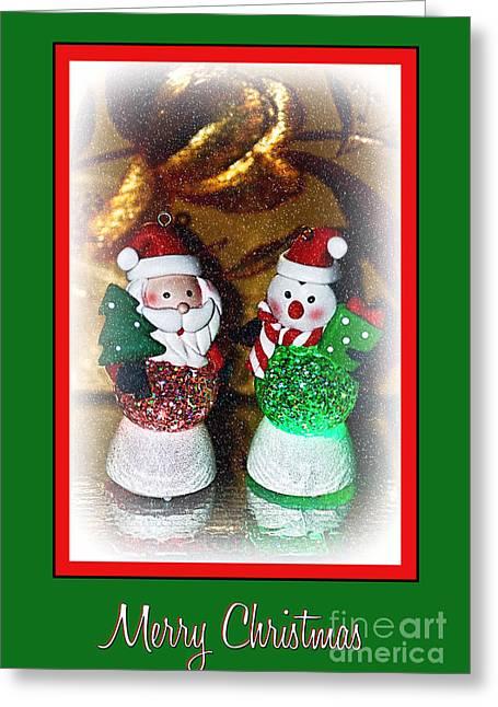 Snow Globe Greeting Cards - Merry Christmas - Glowing Santas 2 by Kaye Menner Greeting Card by Kaye Menner