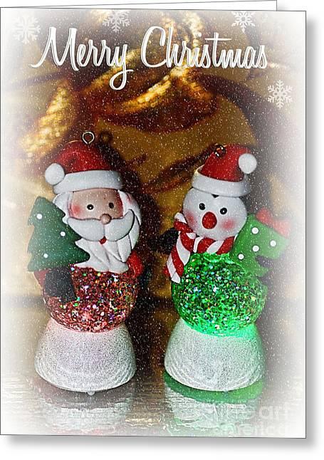 Snow Globe Greeting Cards - Merry Christmas - Glowing Santas by Kaye Menner Greeting Card by Kaye Menner
