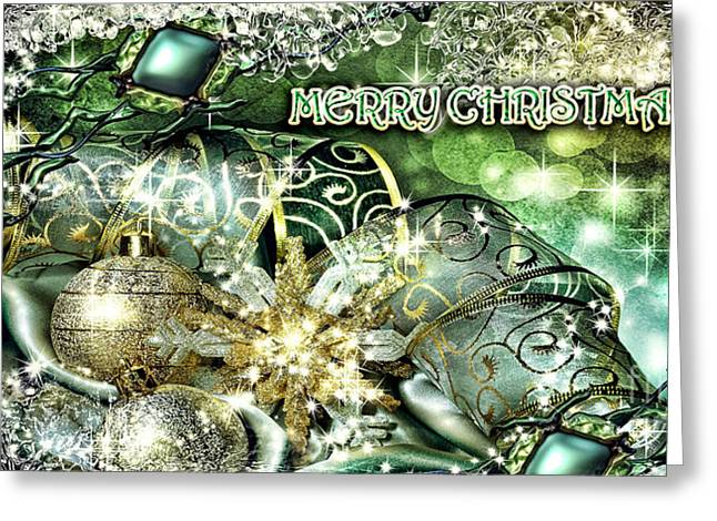 Merry Christmas Green Greeting Card by Mo T