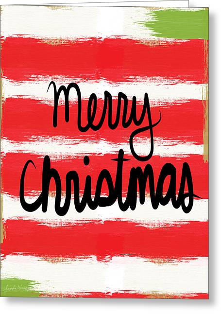Striped Greeting Cards - Merry Christmas- Greeting Card Greeting Card by Linda Woods