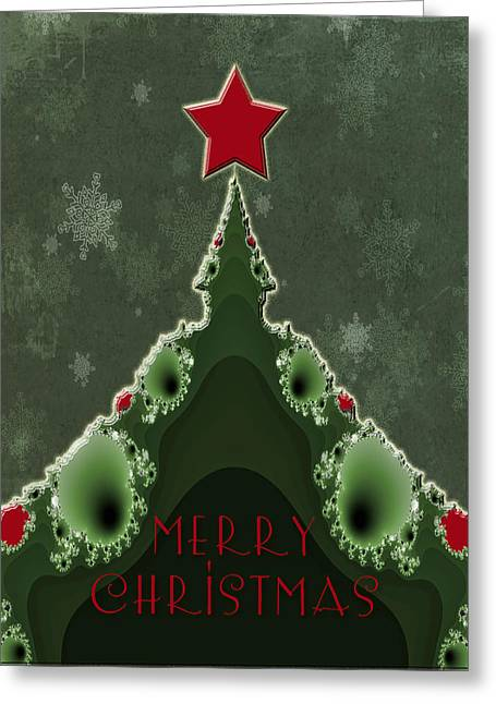 Mother Nature Greeting Cards - Merry Christmas Greeting - Tree and Star Fractal Greeting Card by Mother Nature